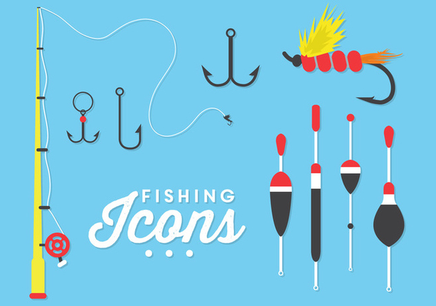Illustration of Fishing Icons in Vector - vector gratuit #351763
