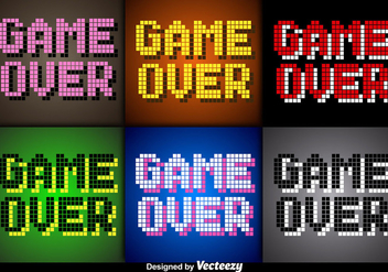 Vector Pixel Game Over Screens for Video Games - vector gratuit #351923
