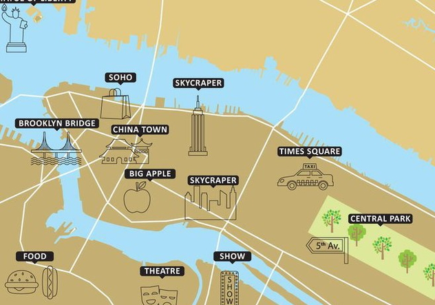Tourist Map New York Vector - Free vector #352023
