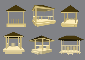 Wooden Gazebo Vector - бесплатный vector #352173