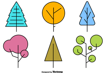Geometric Minimal Tree Vector Shapes - vector gratuit #352203