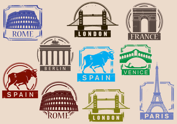 Travel Stamp Vectors - Free vector #352263