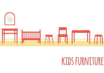 Kids Furniture Icons - vector #352333 gratis