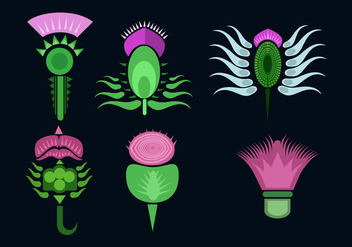 Various Thistle Flower Vector - Free vector #352703