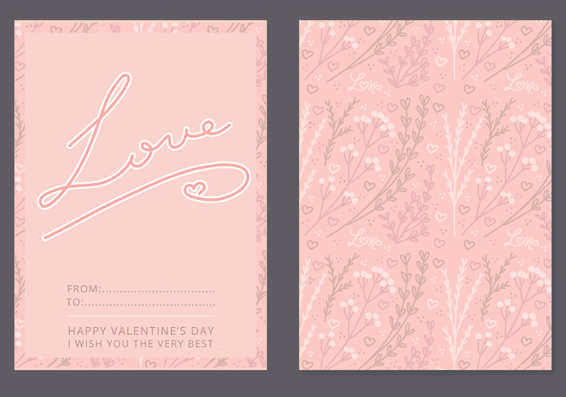 Floral Vector Valentine's Day Card - Kostenloses vector #352883