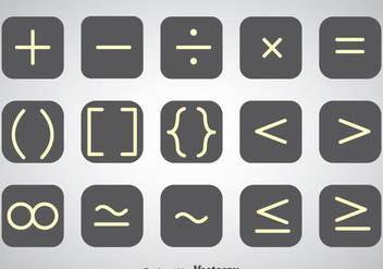 White Outline Math Symbol Vector Sets - vector gratuit #353053