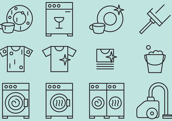 Cleaning Vector Icons - vector #353123 gratis