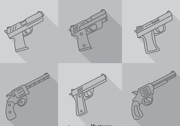 Hand Gun Long Shadow Icons Vector - Free vector #353323