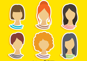Girl Hairstyles Vector Sets - vector #353333 gratis