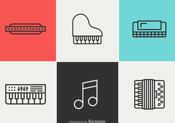 Free Music Vector Line Icons - бесплатный vector #353343