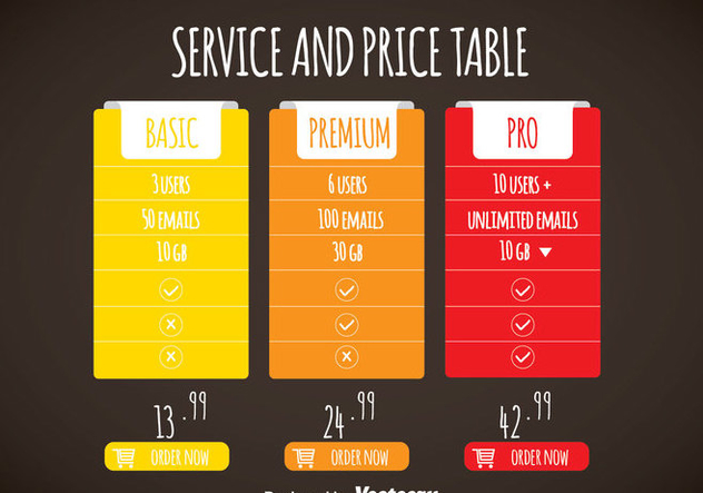 Simple Colorful Pricing Table Template Vector - Kostenloses vector #353393