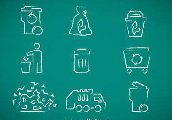 Garbage Chalk Drawn Icons Vector - Free vector #353433