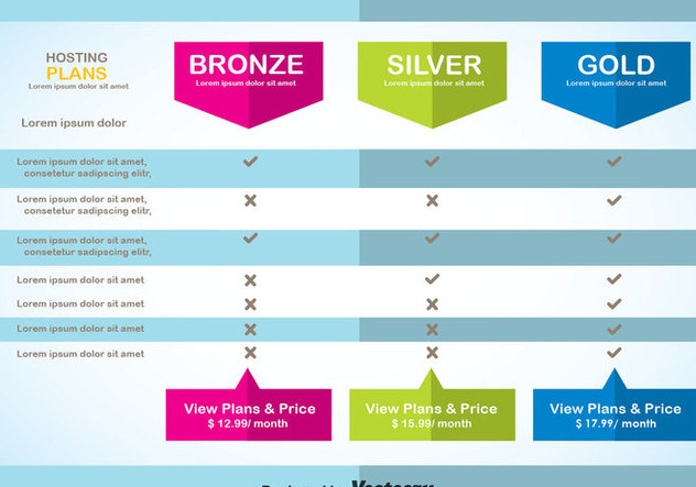 Modern Pricing Table Template Vector - Kostenloses vector #353453