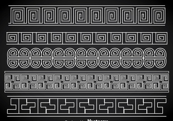 Greek Key White Border Vector Sets - Free vector #353463