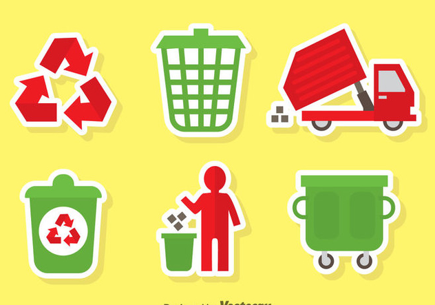 Garbage Red And Green Icons Vector - Kostenloses vector #353503