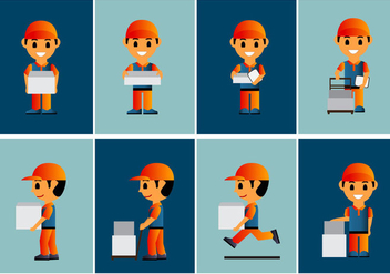 Delivery Man Courier Vectors - vector gratuit #353853