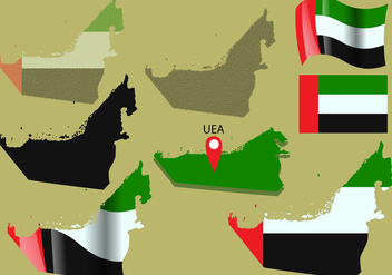 Uni Emirate Arab Map Vectors - vector #353913 gratis