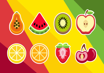 Sliced Fruits Illustrations Vector - vector gratuit #353923