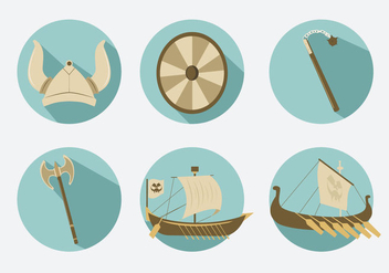 Viking Icons Illustration Vector - Free vector #354053