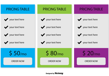 Pricing Table Vector - vector gratuit #354103