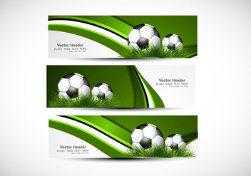 Header With Green Grass And Soccer - vector gratuit #354373