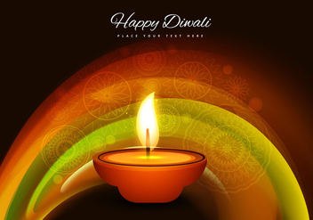 Oil Lit Diya With Rangoli Background - Free vector #354423