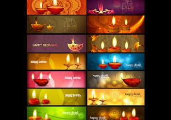 Set Of Header For Diwali - vector gratuit #354433