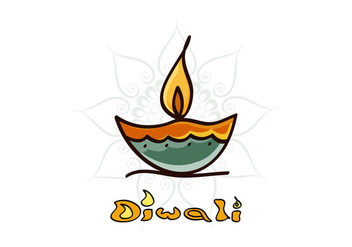 Diwali Diya With Rangoli - бесплатный vector #354443