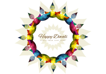Colorful Diya In Floral Pattern - vector gratuit #354463