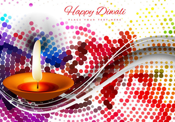 Diwali Diya With Halftone Design - vector gratuit #354513