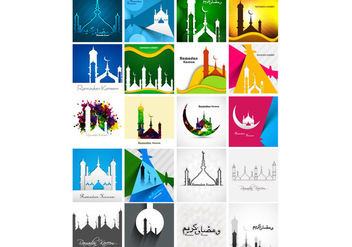 Set Of Colorful Ramadan Kareem Card - Kostenloses vector #354653