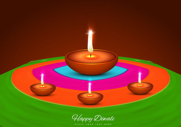 Diya On Rangoli - vector gratuit #354663