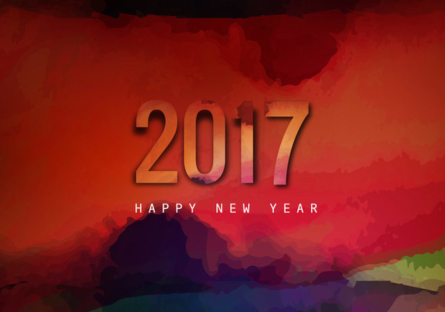 Watercolor Splashes On 2017 New Year - бесплатный vector #354673