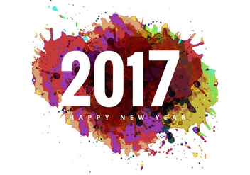 Colorful Grunge On 2017 Happy New Year Card - vector gratuit #354713