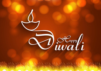 Happy Diwali With Oil Lamp On Greeting Card - vector gratuit #354733