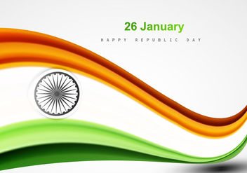 26 January Happy Republic Day With Indian Flag - Free vector #354763