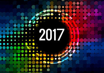 Happy New Year 2017 Card With Halftone Pattern - vector gratuit #354773