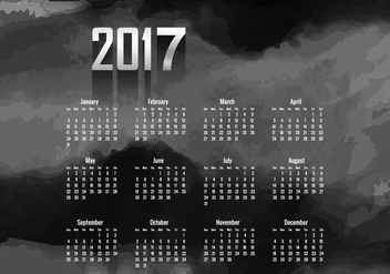 Year 2017 Calendar With Black Color - Kostenloses vector #354813