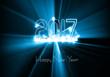 Shiny 2017 Happy New Year Card - vector gratuit #354863