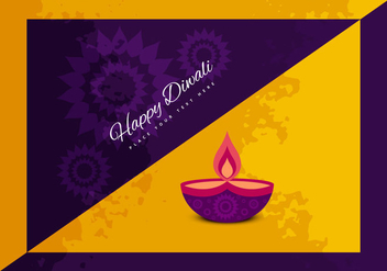 Illustration Of Happy Diwali With Oil Lamp - vector gratuit #354883