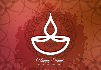 Happy Diwali With Oil Lamp - vector gratuit #354893