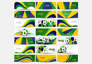 Header Of Brazilian Flag Color With Soccer - Kostenloses vector #354903