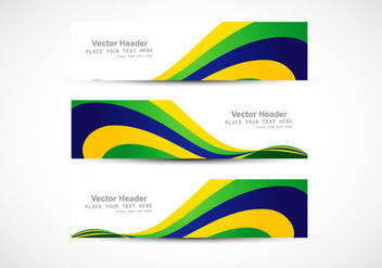 Header With Brazilian Flag Wave For Business Card - Free vector #354923