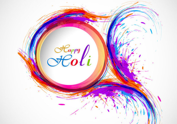 Splash Of Holi Color On Card - vector gratuit #354963