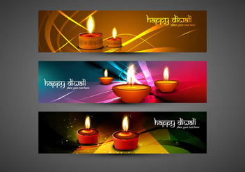 Set Of Happy Diwali Card - vector gratuit #354983
