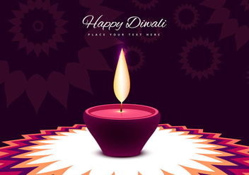 Oil Lit Lamp On Decorative Rangoli - Free vector #355043