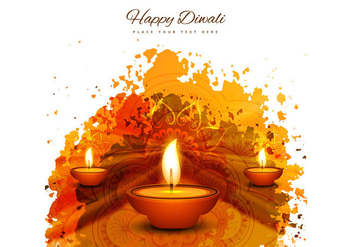 Happy Diwali With Three Diya On Grunge Background - vector gratuit #355093