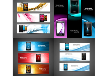Headers For Mobile Phone Website - бесплатный vector #355133