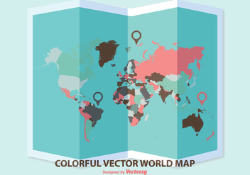 Folded World Map Illustration - vector gratuit #355213