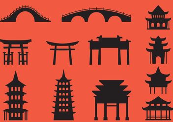 Japanese Architecture Silhouette Vectors - Free vector #355223
